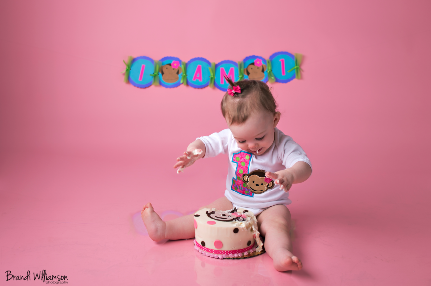 © Brandi Williamson Photography | 1 year old monkey smash cake