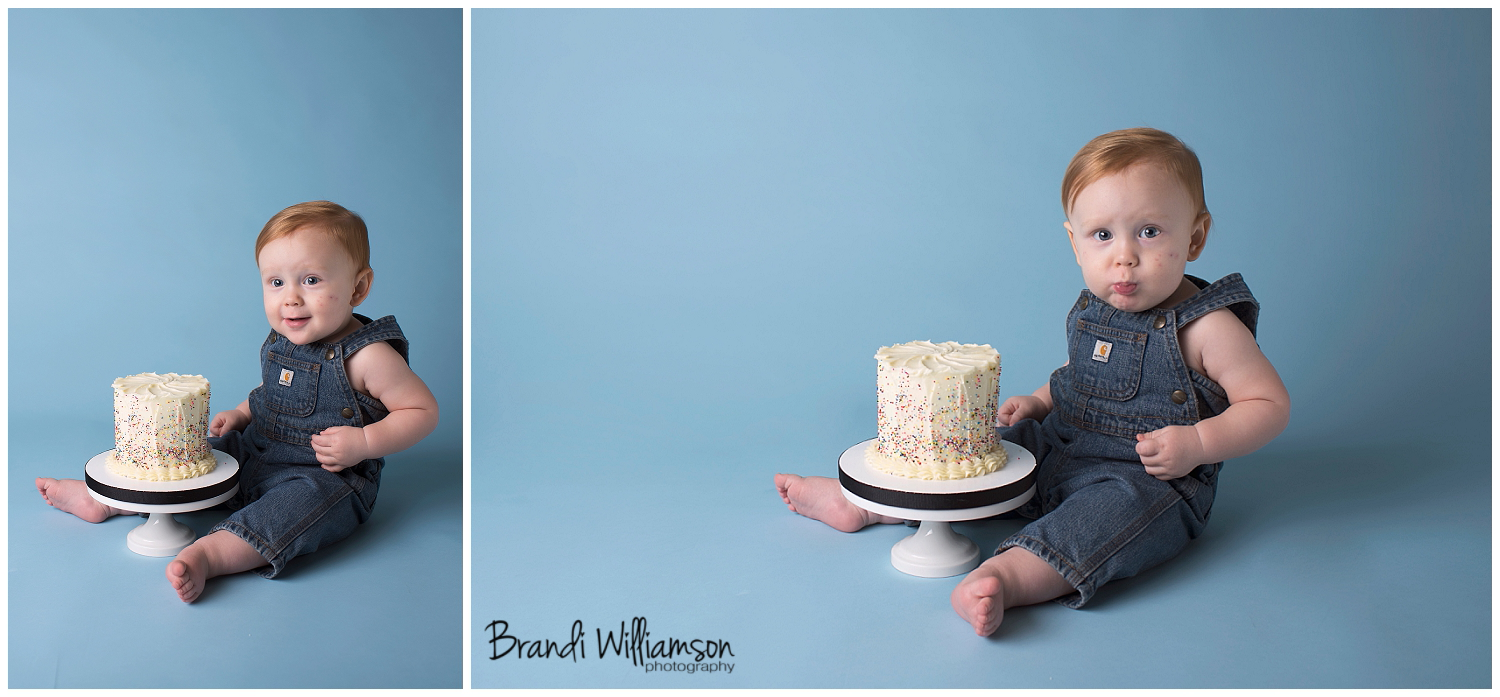 Carrollton Ohio smash cake birthday photographer 44615 | sprinkle smash cake | Dover New Philadelphia OH photographer | cake by Sugarfuse | www.brandiwilliamsonphotography.com