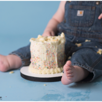 Carrollton Ohio first birthday photographer | isaiah's sprinkle smash cake session