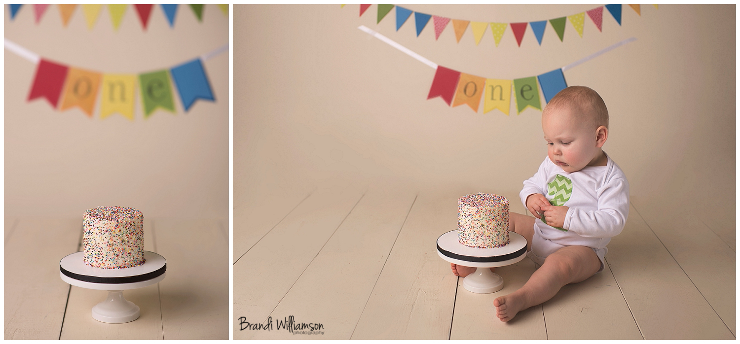 Massillon Ohio first birthday smash cake baby photographer Dover New Philadelphia | www.brandiwilliamsonphotography.com